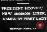 Image of Mrs Herbert Hoover Newport News Virginia USA, 1930, second 1 stock footage video 65675052014
