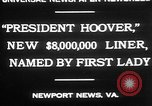 Image of Mrs Herbert Hoover Newport News Virginia USA, 1930, second 4 stock footage video 65675052014