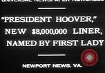 Image of Mrs Herbert Hoover Newport News Virginia USA, 1930, second 6 stock footage video 65675052014