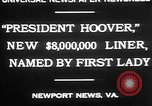 Image of Mrs Herbert Hoover Newport News Virginia USA, 1930, second 7 stock footage video 65675052014