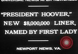 Image of Mrs Herbert Hoover Newport News Virginia USA, 1930, second 8 stock footage video 65675052014