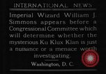 Image of William J Simmons of KKK Washington DC USA, 1921, second 4 stock footage video 65675052456