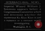 Image of William J Simmons of KKK Washington DC USA, 1921, second 5 stock footage video 65675052456