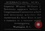 Image of William J Simmons of KKK Washington DC USA, 1921, second 8 stock footage video 65675052456
