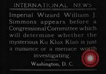 Image of William J Simmons of KKK Washington DC USA, 1921, second 9 stock footage video 65675052456