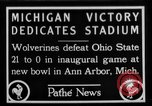 Image of First football game in 1927 at new Michigan Stadium Ann Arbor Michigan USA, 1927, second 1 stock footage video 65675052490