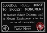 Image of President Calvin Coolidge at Mount Rushmore Black Hills South Dakota USA, 1927, second 10 stock footage video 65675052493