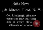 Image of Charles Lindbergh completes 3 month tour in New York Mitchel Field Long Island New York USA, 1927, second 4 stock footage video 65675052495