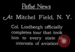 Image of Charles Lindbergh completes 3 month tour in New York Mitchel Field Long Island New York USA, 1927, second 5 stock footage video 65675052495