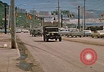 Image of convoy of National Guard trucks Rapid City South Dakota USA, 1972, second 4 stock footage video 65675052523