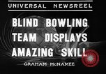 Image of blind bowlers New York City USA, 1936, second 4 stock footage video 65675053234