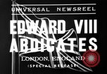 Image of abdication of King Edward VIII London England United Kingdom, 1936, second 3 stock footage video 65675053647