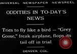 Image of freak aircraft fails in trial Denver Colorado USA, 1929, second 2 stock footage video 65675054945