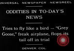 Image of freak aircraft fails in trial Denver Colorado USA, 1929, second 4 stock footage video 65675054945