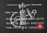 Image of Italian liner Rex New York City USA, 1933, second 3 stock footage video 65675055002