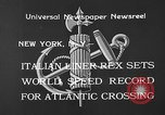 Image of Italian liner Rex New York City USA, 1933, second 6 stock footage video 65675055002