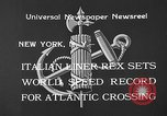 Image of Italian liner Rex New York City USA, 1933, second 9 stock footage video 65675055002