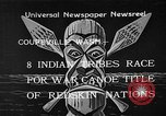 Image of Native American Indian canoe race Coupeville Washington USA, 1933, second 1 stock footage video 65675055007