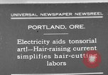 Image of hair cutting saloon Portland Oregon USA, 1931, second 1 stock footage video 65675055144