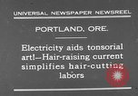 Image of hair cutting saloon Portland Oregon USA, 1931, second 2 stock footage video 65675055144