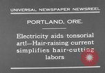 Image of hair cutting saloon Portland Oregon USA, 1931, second 7 stock footage video 65675055144