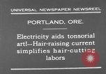 Image of hair cutting saloon Portland Oregon USA, 1931, second 8 stock footage video 65675055144