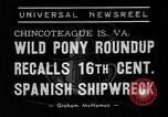 Image of wild ponies Chincoteague Island Virginia USA, 1939, second 3 stock footage video 65675055162