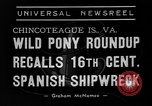 Image of wild ponies Chincoteague Island Virginia USA, 1939, second 7 stock footage video 65675055162