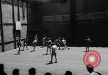 Image of basketball court on aircraft carrier hangar deck Pacific Ocean, 1945, second 10 stock footage video 65675055308