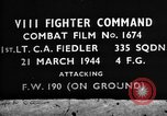 Image of Focke Wulf 190 fighter aircraft European Theater, 1944, second 4 stock footage video 65675055404
