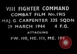 Image of German fighter aircraft European Theater, 1944, second 1 stock footage video 65675055427