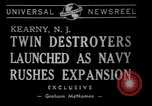 Image of christening of destroyers Kearny New Jersey USA, 1940, second 2 stock footage video 65675056279