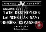 Image of christening of destroyers Kearny New Jersey USA, 1940, second 3 stock footage video 65675056279