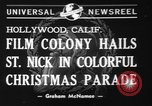 Image of Christmas parade Hollywood Los Angeles California USA, 1940, second 8 stock footage video 65675056286