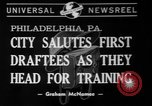 Image of parade of draftees Philadelphia Pennsylvania USA, 1940, second 1 stock footage video 65675056292