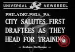 Image of parade of draftees Philadelphia Pennsylvania USA, 1940, second 3 stock footage video 65675056292