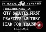 Image of parade of draftees Philadelphia Pennsylvania USA, 1940, second 7 stock footage video 65675056292