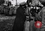 Image of Leon Trotsky presents colors to new unit of Red Guards Russia, 1917, second 6 stock footage video 65675056579