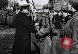 Image of Leon Trotsky presents colors to new unit of Red Guards Russia, 1917, second 7 stock footage video 65675056579