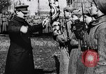 Image of Leon Trotsky presents colors to new unit of Red Guards Russia, 1917, second 9 stock footage video 65675056579