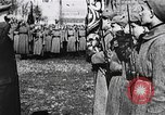 Image of Leon Trotsky presents colors to new unit of Red Guards Russia, 1917, second 10 stock footage video 65675056579