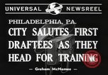 Image of draftees Philadelphia Pennsylvania USA, 1940, second 2 stock footage video 65675057686