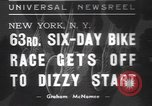 Image of six day bike race New York United States USA, 1937, second 1 stock footage video 65675057742