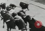 Image of running bulls Pamplona Spain, 1953, second 6 stock footage video 65675058246