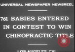 Image of chiropractors examining babies Los Angeles California USA, 1931, second 4 stock footage video 65675058948