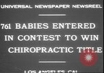 Image of chiropractors examining babies Los Angeles California USA, 1931, second 6 stock footage video 65675058948