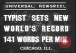 Image of Albert Tangora typing 141 words per minute Chicago Illinois USA, 1937, second 5 stock footage video 65675058989