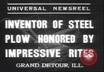 Image of steel plow Grand Detour Illinois USA, 1937, second 3 stock footage video 65675058992