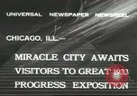 Image of world's fair grounds Chicago Illinois USA, 1932, second 6 stock footage video 65675059261
