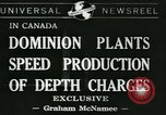 Image of depth charges Canada, 1941, second 1 stock footage video 65675059337